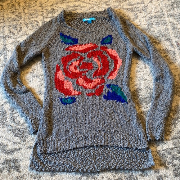 Nanette Lepore L'Amour S Grey Lenore Rose Boucle Sweater
